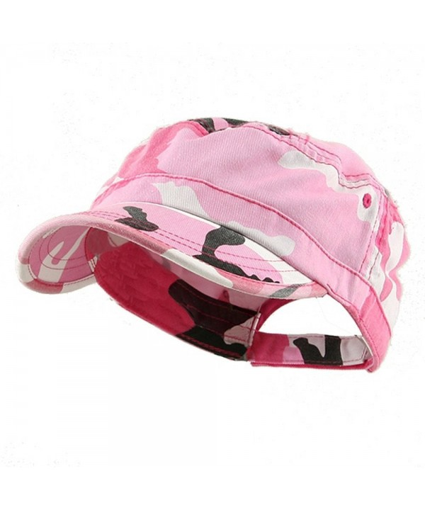 MG Women's Enzyme Washed Cotton Twill Cap Hat (Pink Camo) - C5111GHV97V