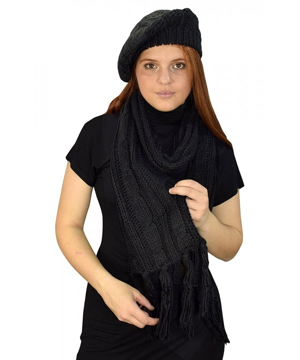 Peach Couture Cable Knit Beret Beanie Hat and Scarf Set - Black (49) - CZ187UDNAU6