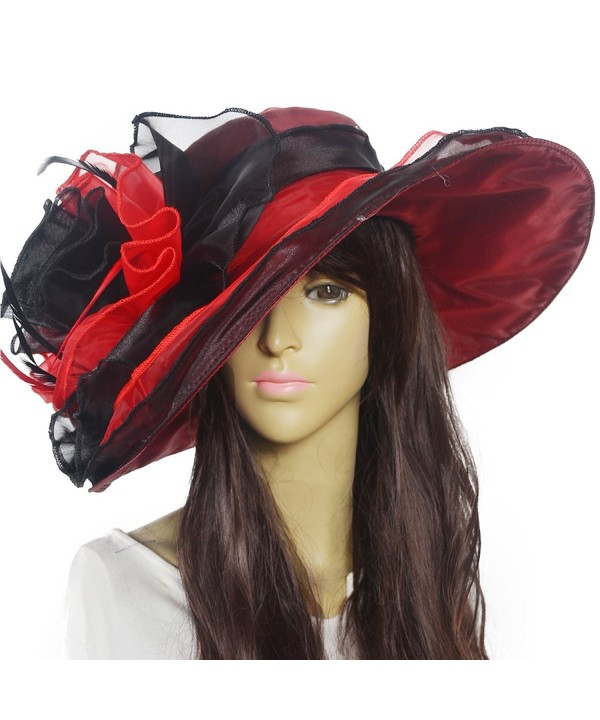 Womens Kentucky Derby Church Dress Wedding Floral Tea Party Hat S056 - S02-red Black - CM12E5AQ3MP