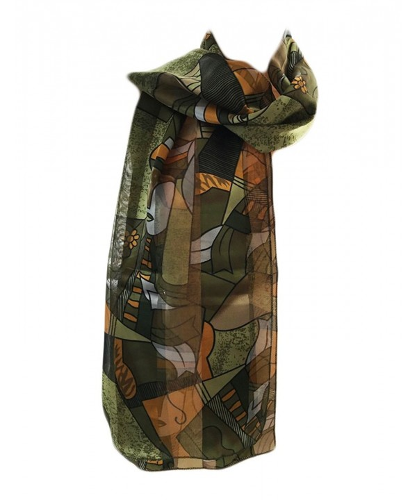 New Company Womens Pablo Picasso Artist Painter Art Scarf Satin Stripe One Size - Green - CJ180LK8LIC