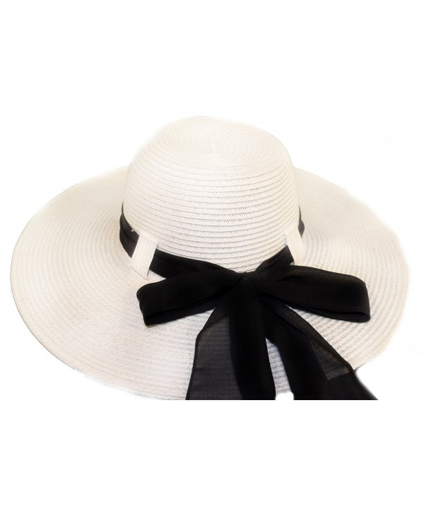 White Wide Brim Ladies Hat With Black Bow / Belt Loop Design - CH113ZCSS5L