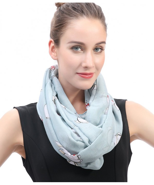 Lina & Lily Rabbit Bunny with Bow Tie Print Women's Infinity Scarf Lightweight - Pale Blue - CL11VW9VAB7