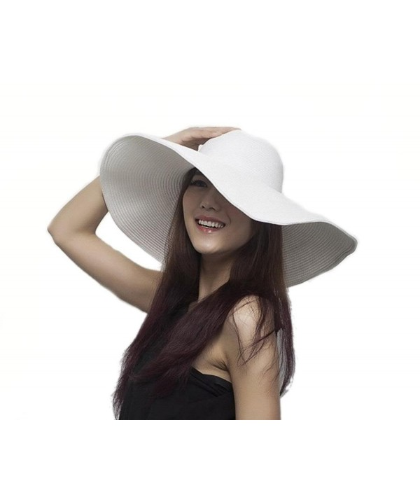 Bigood Women Wide Brim Large Summer Sun Beach Hat Straw Cap 56cm - White - CT11JX3FJXZ