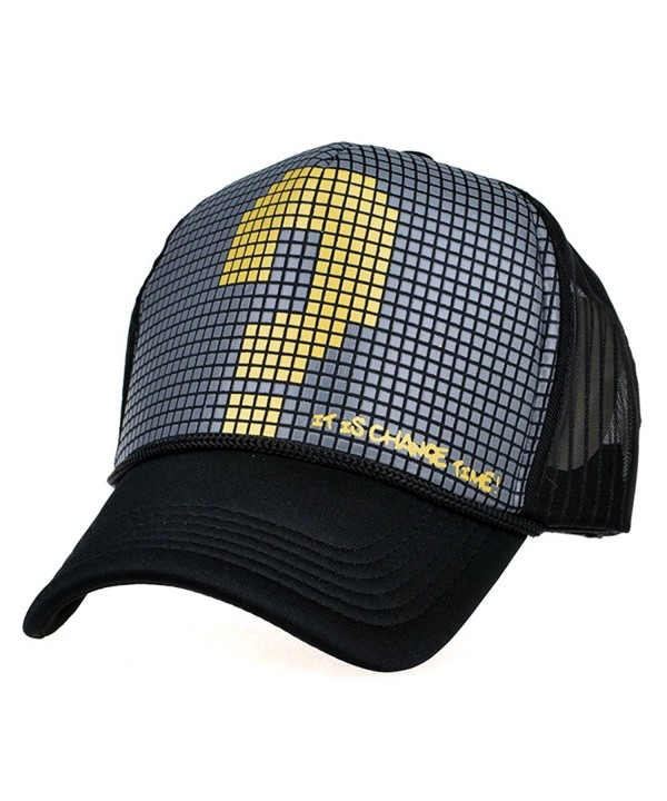 LOCOMO Checker Question Mark Mesh Back Snapback Baseball Brim Cap FFH179BLK - Gray - CQ11LKGKNT3