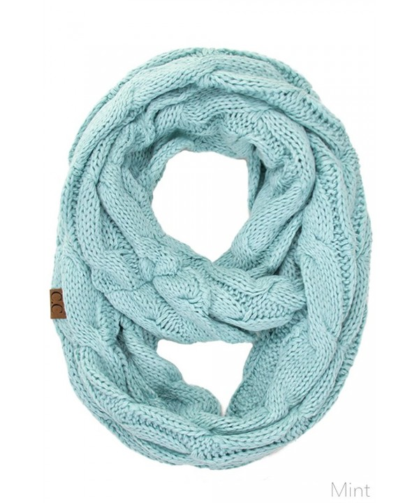 ScarvesMe CC Women Fashion Knitted Weaved Infinity Loop Scarf - Mint - C2185AM7G4D