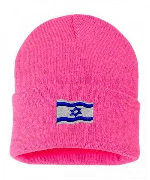 Israel Flag Custom Personalized Embroidery Embroidered Beanie - Hot Pink - CX12O6IMMDE