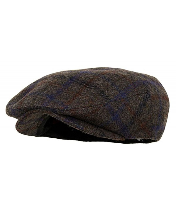Men's Premium Wool Blend Snap Brim Newsboy Cabbie Cap Hat - Plaid Brown - CT187DXL6DH