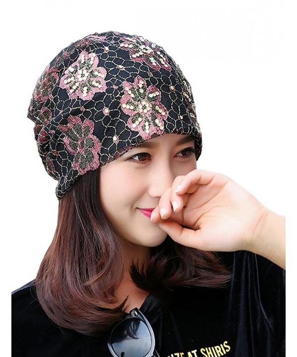 Lujuny Lace Beanie Caps - Women Hats For Cancer Chemo Patients- hairloss- Outdoor - Flower Pink - CA185QOSLGD