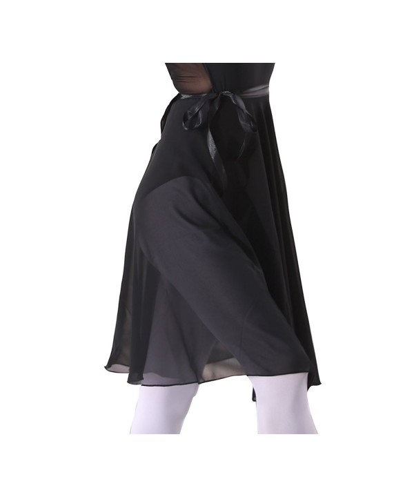 woosun Adult Ladies Ballet Leotard Tutu Skirt Women Dance Wrap Over Scarf 60cm Length Skirt Chiffon - Black - C0185EG9636