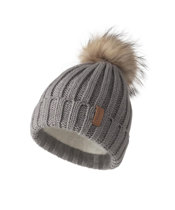 Pilipala Women Knit Winter Turn up Beanie Hat Fur Pompom VC17604 - Gray(raccoon Pompom) - C3188N3RSQ7