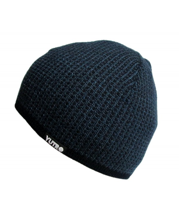 YUTRO Fashion Men's Oversized Stretch Wool Knitted Winter Beanie Hat - Navy Blue - CQ129PVUW59