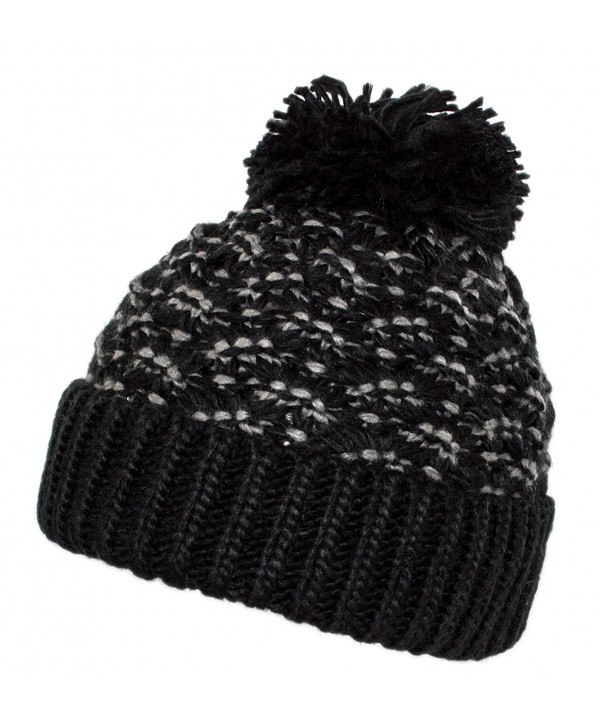 HatQuarters Warm Chunky Cable Knit Winter Skully Cap With Cuff- Dope Beanie Hat With Pom - Black/Grey - CX186DXKGG8