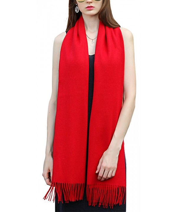 Super Soft Cashmere Blanket Scarf with Tassel Red Warm Shawl Gift Valentine's Day - Red - C01879IQT4W