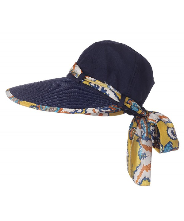 Jemis Women's Big Rim Cap Sun Hat with Sacrf - Navy Blue - CC11WP1AG93