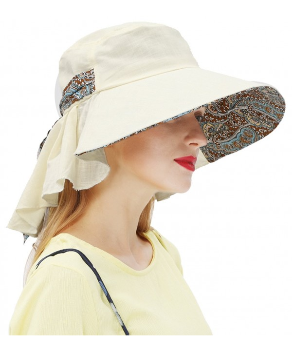 Women's Summer Straw Hat Beach Bucket Hats Cap Wide Brim Sun Hat - Sun Protective - Beige - C3183382D5E