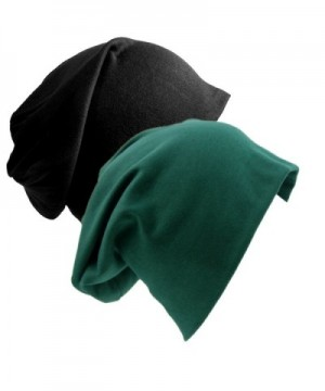 Senker 2 Pack of Baggy Soft Cotton Slouchy Stretch Beanie Hat-Chemo hats for Men and Women - Black/Dark Green - CI187W5RN4S
