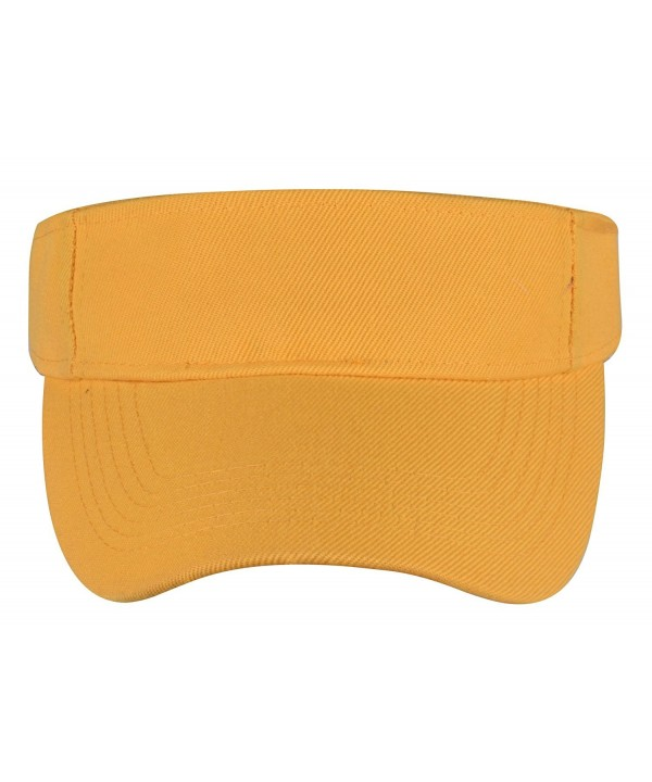 Visors Hat Unisex Solid Sports Tennis Sun Visor Adjustable Velcro Hats By PZLE - Yellow - C317YDKT8R8