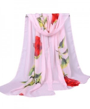 Clearance! Women Elegant Rose Print Lightweight Chiffon Scarves Shawl Wraps Fall Winter Scarf - Pink - CX188TAOY7A