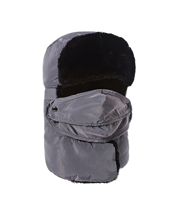 Paladineer Winter Trooper Trapper Hat Hunting Hat Ear Flap Mouth Mask For Men Women - Grey - CW188OZMI67