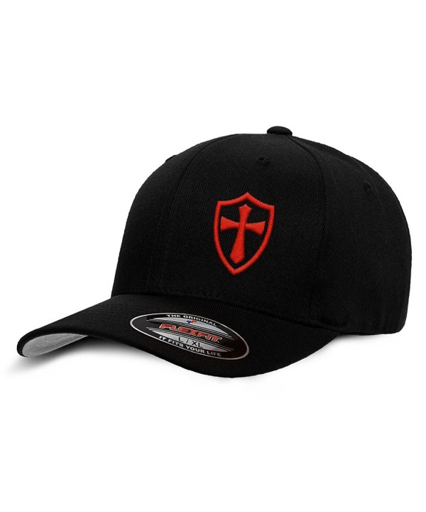 Crusader Knights Templar Cross Baseball Hat - Black / Red - C912LG3S27T