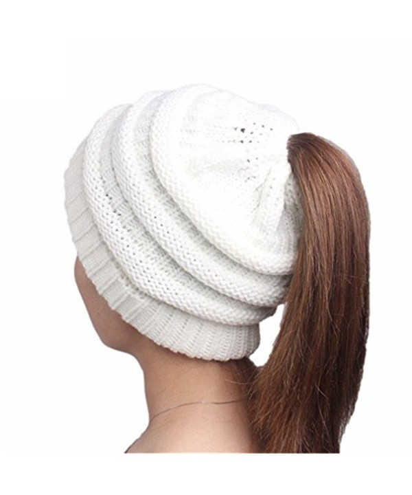 NeuFashion Wholesale Ponytail Stretch Beanies - White - CR189KRY3IN