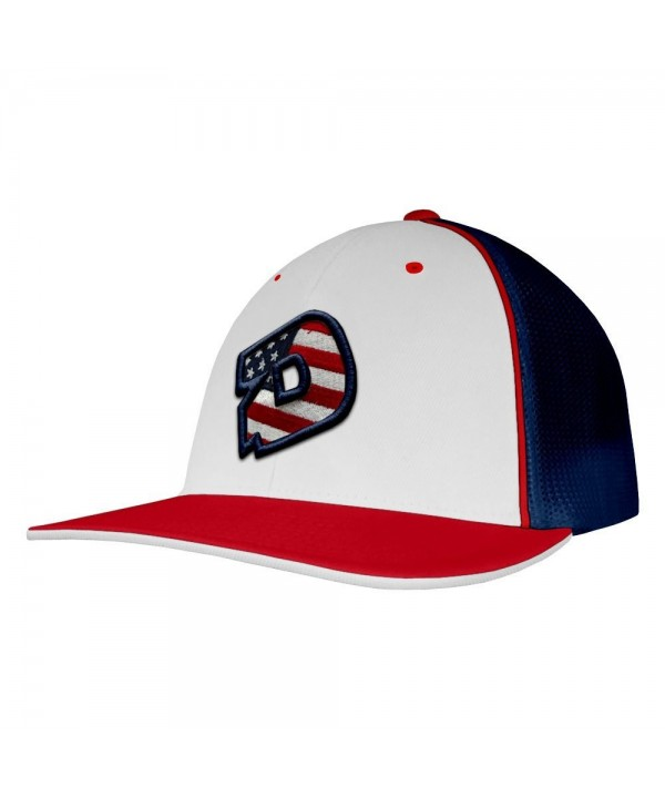 DeMarini D Logo USA Baseball/Softball Trucker Hat - White/Red/Navy - CU12GHJ9OJH