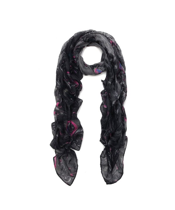 Premium Elegant Peacock Feather Scarf Wrap - Different Colors Available - Black - CF11ORWFBGH