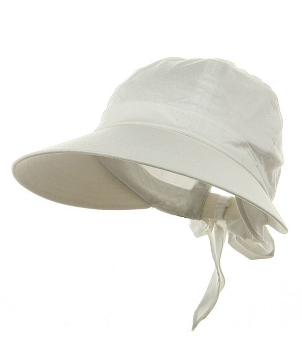 Ladies White Wide Brim Cotton Garden Beach Hat w/ Tie Back - CU11RBPZ10N