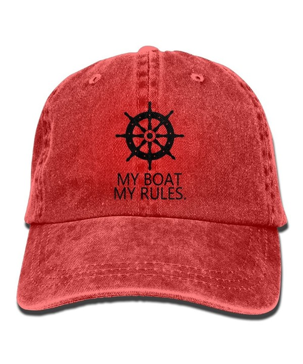 My Boat My Rules Retro Washed Dyed Cotton Adjustable Baseball Cowboy Cap - Red - CK188CRKKDR