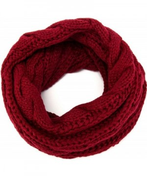MOTINE Women's Winter Thick Ribbed Knit Warm Circle Loop Infinity Scarf - Burgundy - C012NB3XJO6