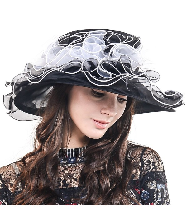 Kentucky Derby Church Dress Wedding Floral Tea Party Hat S021-A - Black&white - CZ12OBLD9P6