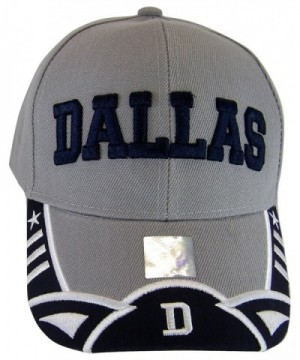 BVE Sports Novelties Dallas Texas Men's Stars & Stripes Adjustable Baseball Cap - Script Gray/Navy - C7182KQQNA0
