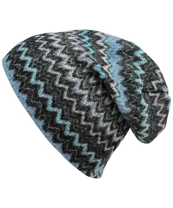 Luxury Divas Chevron Stripe Knit Slouchy Beanie Hat - Blue - CO11TT3GIQL