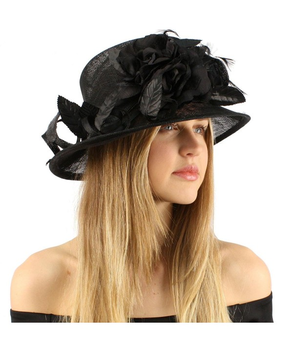 Classy Kentucky Derby Flowers Curled Leaf Feathers Bucket Church Hat Cap - Black - CH11CHZQP07