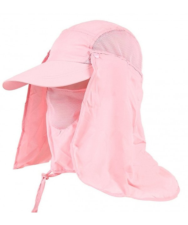 Sawadikaa Outdoor Mask Hat With Head Net Mesh Face Protection Sun Flap Cpas - Pink - CN1829XH87I