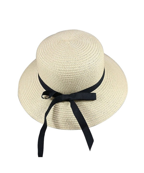 Skyflying Mat Grass Natural Bowknot Small Brim Straw Hat Beach Dating Summer Durable Basic - Beige - CY17YTAZA54