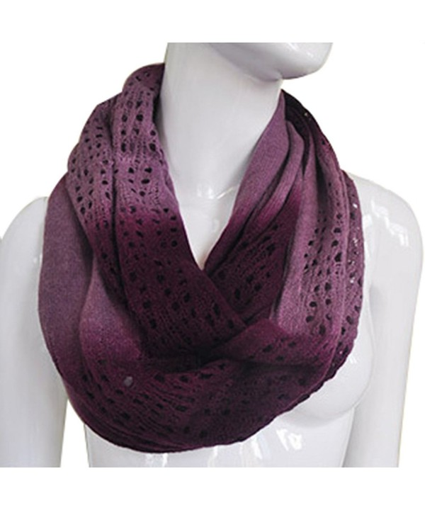 JET-BOND Light Infinity Scarf Hollow Blooming Contrast Color FP03 Knitted Women Winter - Dark Purple - CA187EXEOQT
