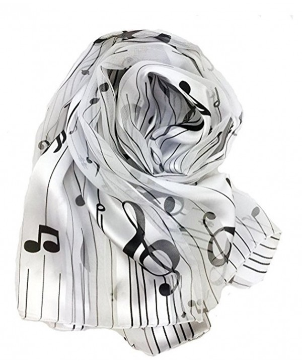 Knitting Factory Women's Fashion Music Note Scarf (Various Patterns- Colors) Made in Korea - White-on2005 - CS1873C9MRU