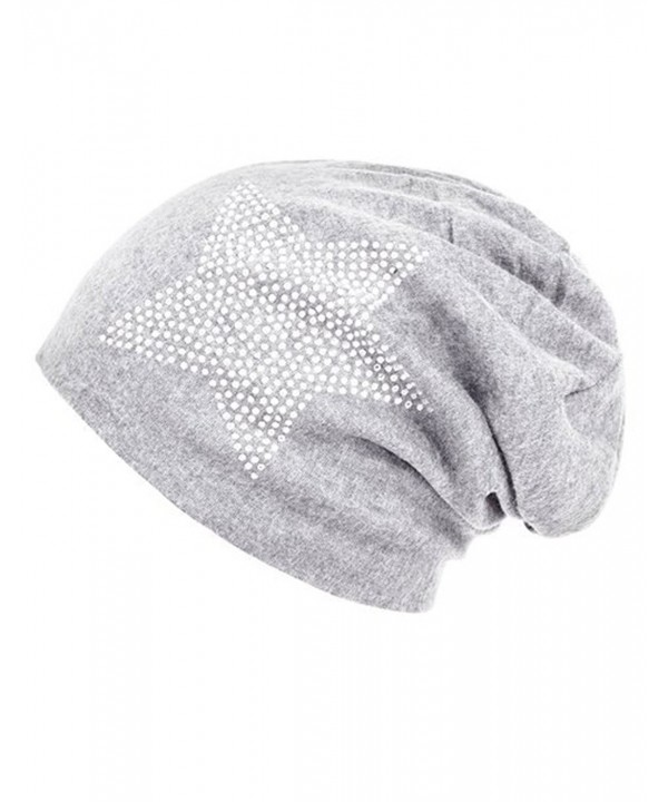 I wish Women's Star Rhinestone Cotton Knit Beanie Sleep Turban for Cancer - Light Grey - CH12MZ1535G