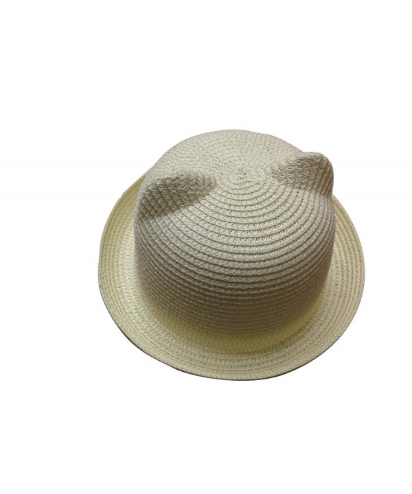 JTC Women's Cat Ear Derby Bowler Straw Hat Sun Summer Beach Cap White - CL11KN1K6GL