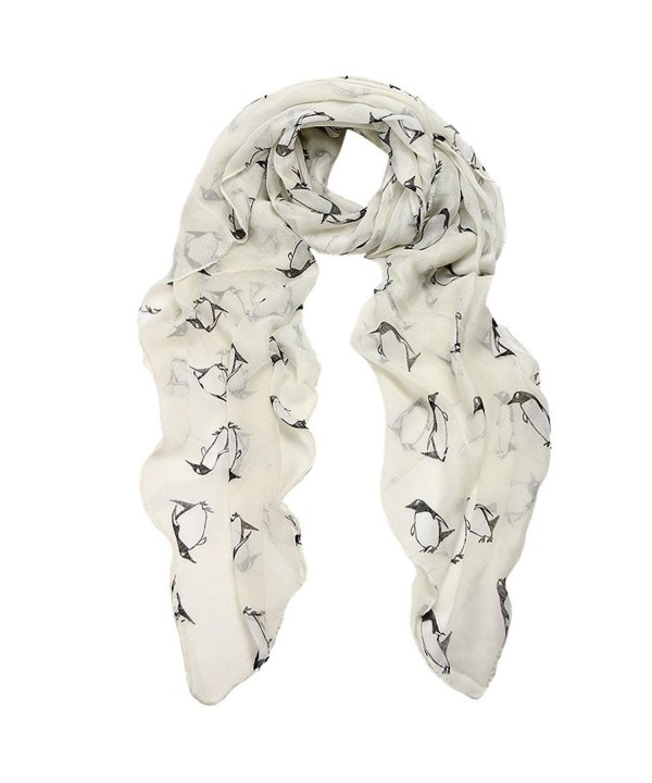 FranterdWomen Penguin Print Voile Rectangle Scarves - White - CW120HETWJP