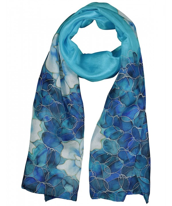 Invisible World Women's 100% Silk Hand Painted Rectangular Scarf Roses - Turquoise - C111L7QS1PJ