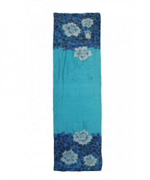 Invisible World Painted Rectangular Turquoise in Fashion Scarves