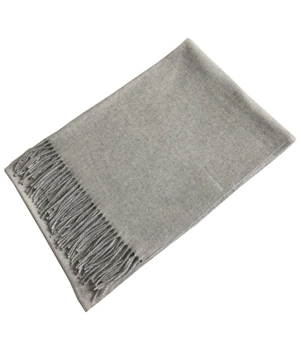 ANQILA Stylish Warm Soft Wool Blend Winter Tassels Shawl Wrap Large Blanket Scarf - Light Gray - CW1868HXWN6