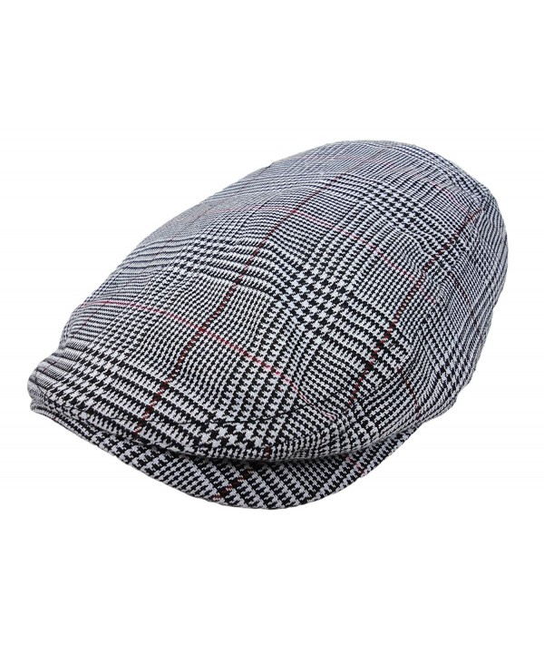 Plaid Pattern Ivy Driver Hunting Flat Newsboy Hat Gray - CJ11JMIAB4H