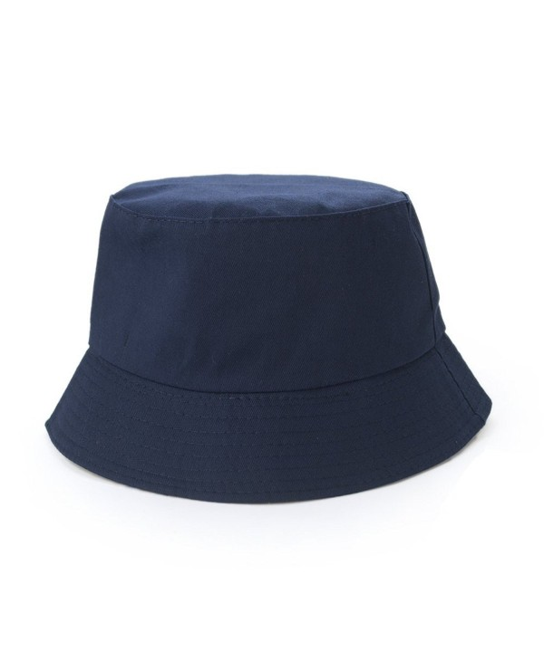 Opromo Blank Cotton Twill Bucket Hat Fishing Hunting Hat- One Size Fits All - Navy Blue - CU11VBHFJD1