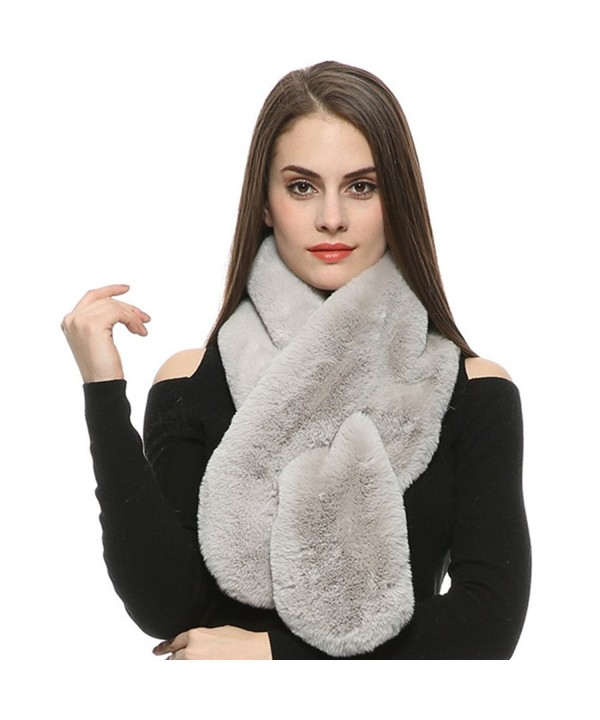Dikoaina Womens Soft Faux Rabbit Fur Scarf Collar Multicolors - Gray - CV1857377DI
