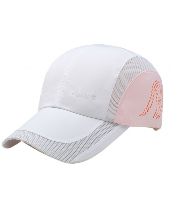 Panegy Men Women Sports Hat Quick Drying Mesh Sun Cap Lightweight Sun Runner Cap - White - CF17YZNOU5Y