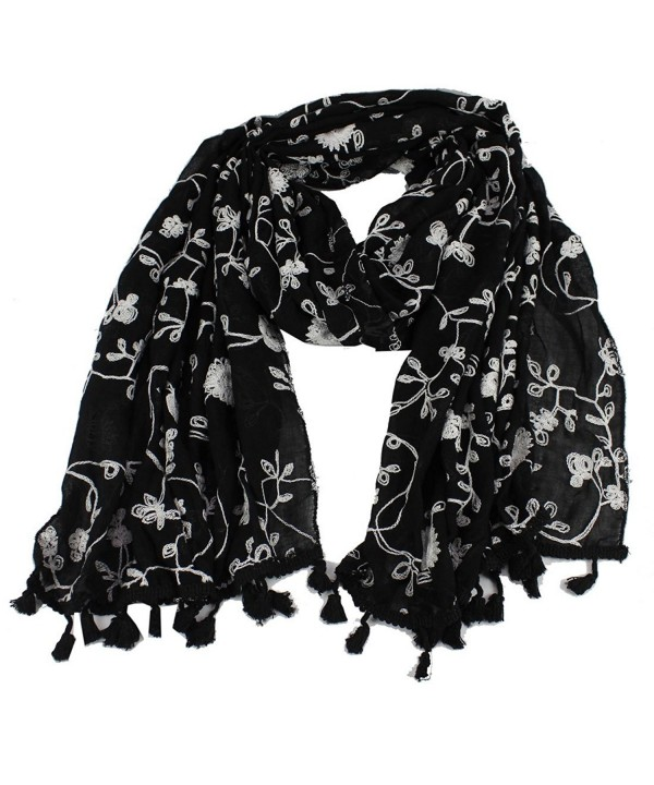 Women's Embroidery Floral Cotton Stole Wrap Tassel Edge Oblong Scarf Shawl - Black - C812096B53H