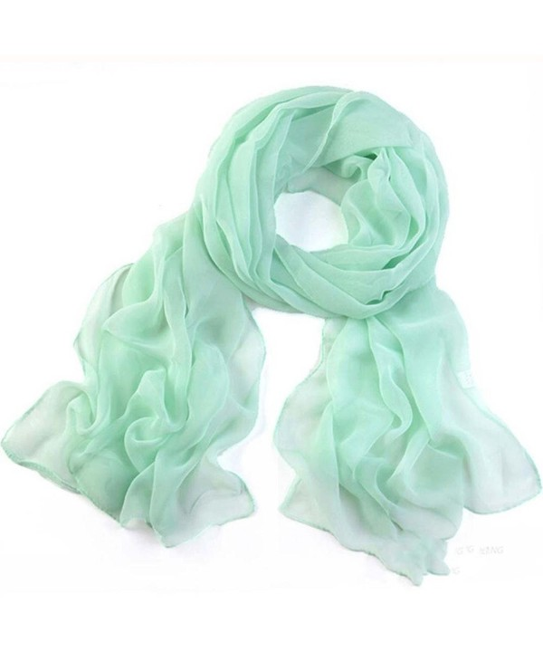 Deamyth Women Chiffon Scarves Lady Soft Long Shawl Wrap Scarf Solid Color - Mint Green - CF12NG0O48H